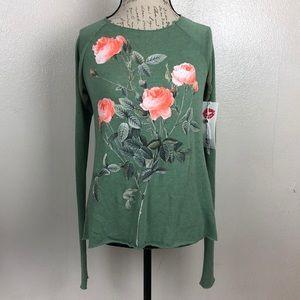 Wildfox Green Pink Rose Print Long Sleeve Tee XS